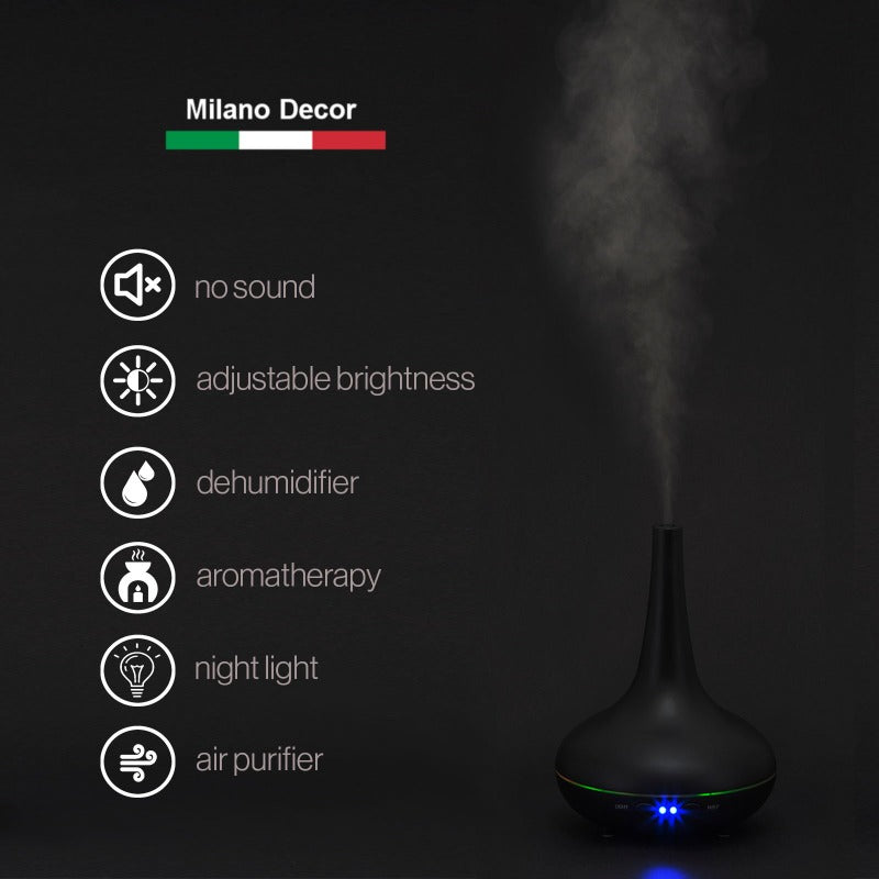 Essential Oil Diffuser Ultrasonic Humidifier Aromatherapy LED Light 200ML 3 Oils - Black