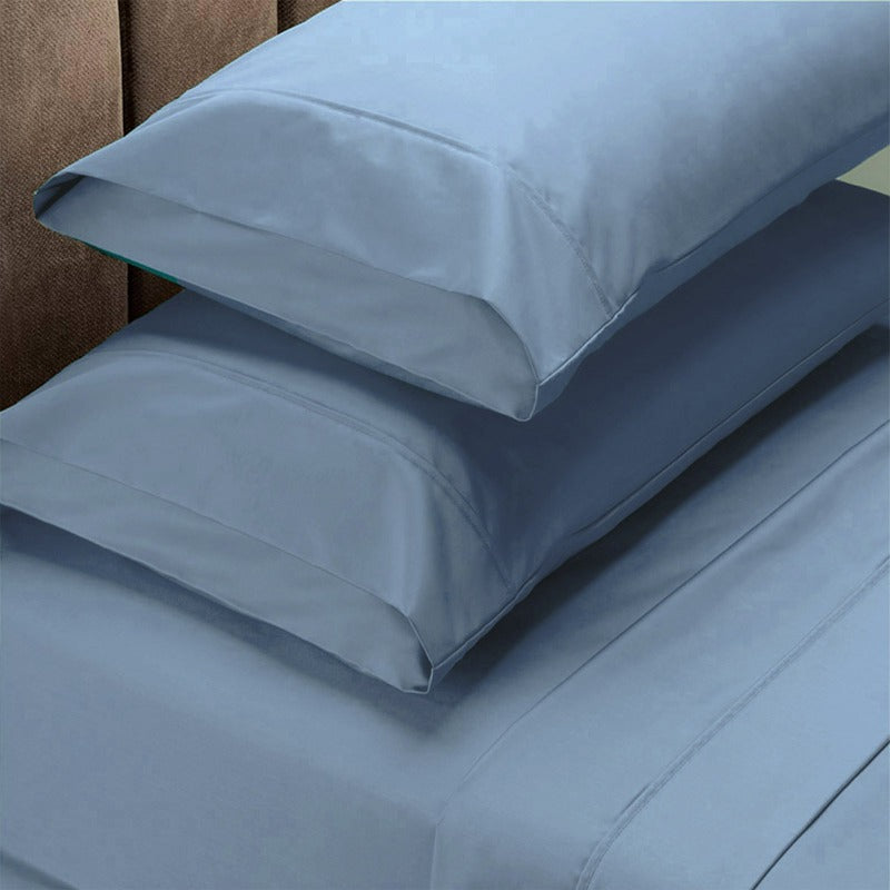Renee Taylor 1500 Thread Count Pure Soft Cotton Blend Flat & Fitted Sheet Set - Queen - Indigo