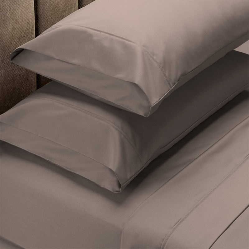 Renee Taylor 1500 Thread Count Pure Soft Cotton Blend Flat & Fitted Sheet Set - King - Stone