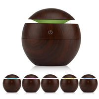 Milano Ultrasonic USB Diffuser with 10 Aroma Oils Humidifier LED Light 130ml - Dark Wood