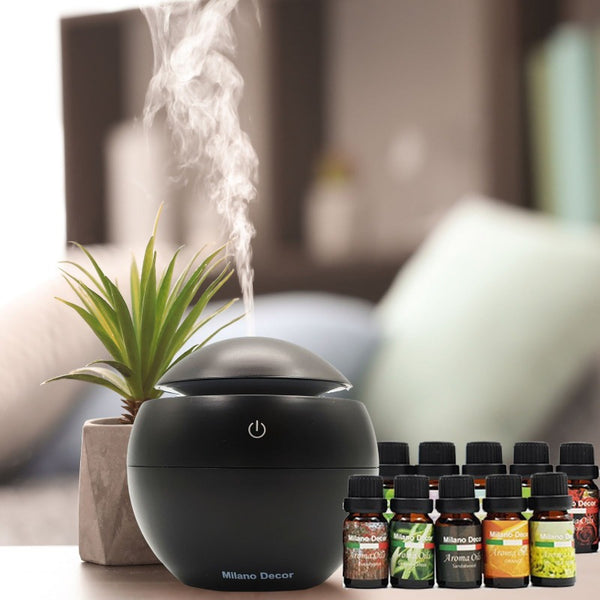 Milano Ultrasonic USB Diffuser with 10 Aroma Oils Humidifier LED Light 130ml - Black