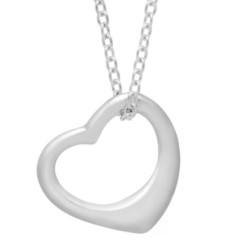 18 Open Heart Pendant Necklace in Rhodium-Plated Brass