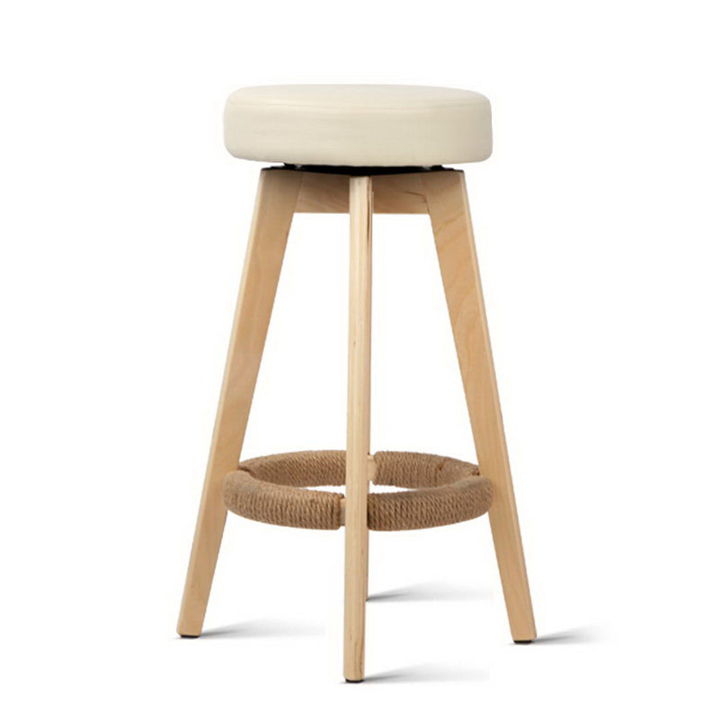 Artiss 2x Kitchen Bar Stools Wooden Bar Stool Swivel Barstools Counter Chairs 74cm Leather  Cream