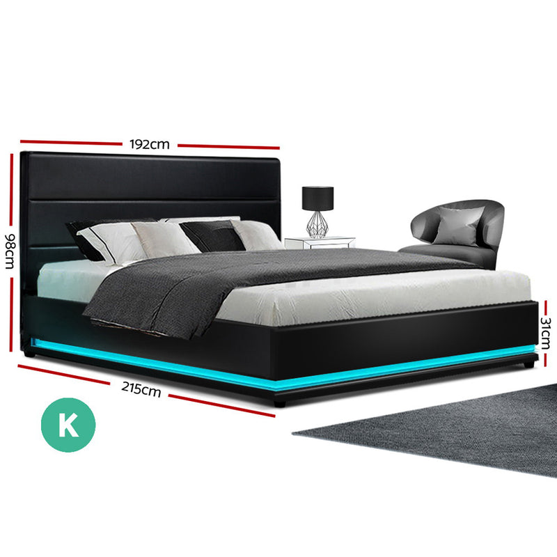 Artiss RGB LED Bed Frame King Size Gas Lift Base Storage Black Leather LUMI