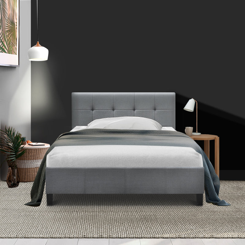 Bed Frame King Single Size Base Mattress Platform Fabric Wooden Grey SOHO