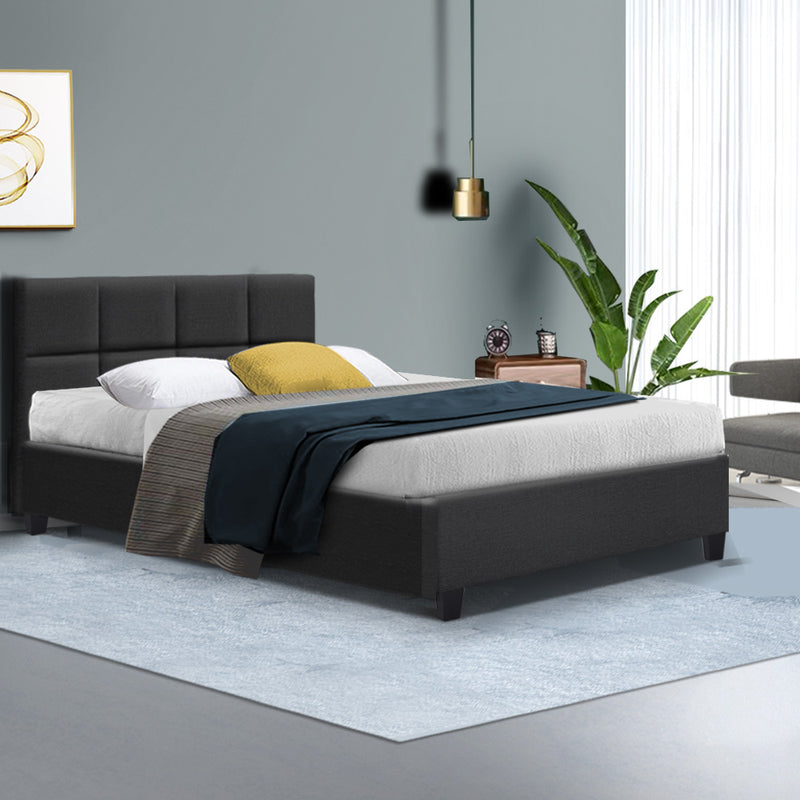 Bed Frame Single Size Base Mattress Platform Fabric Wooden Charcoal TINO