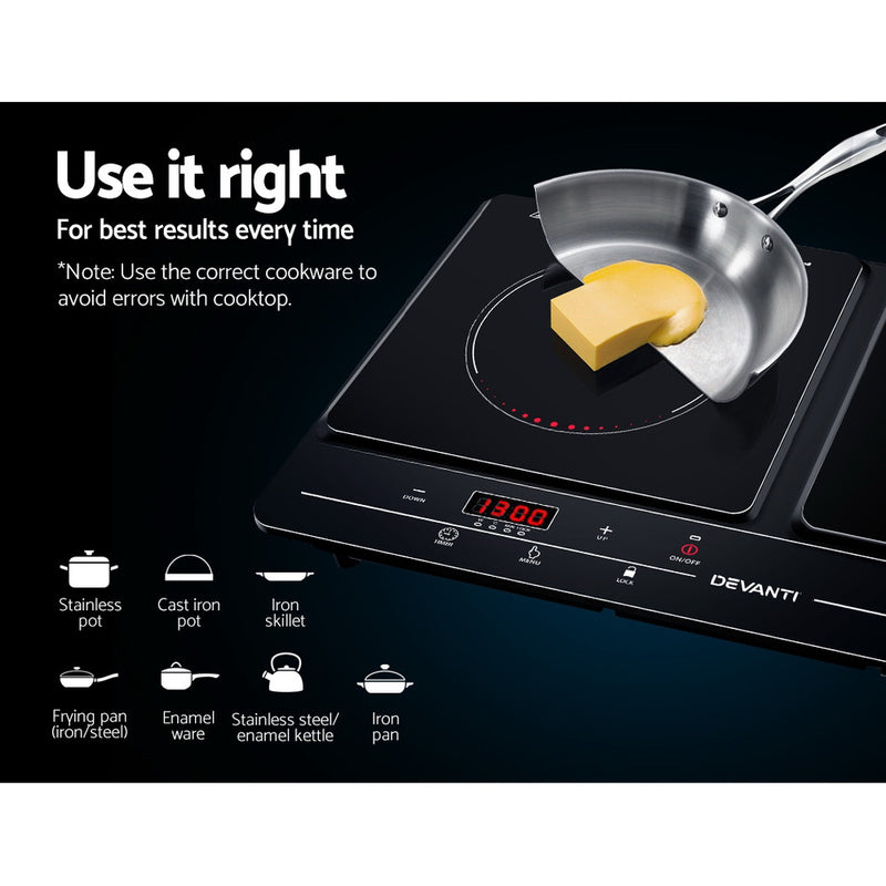 Devanti 2 Burner Induction Cooktop