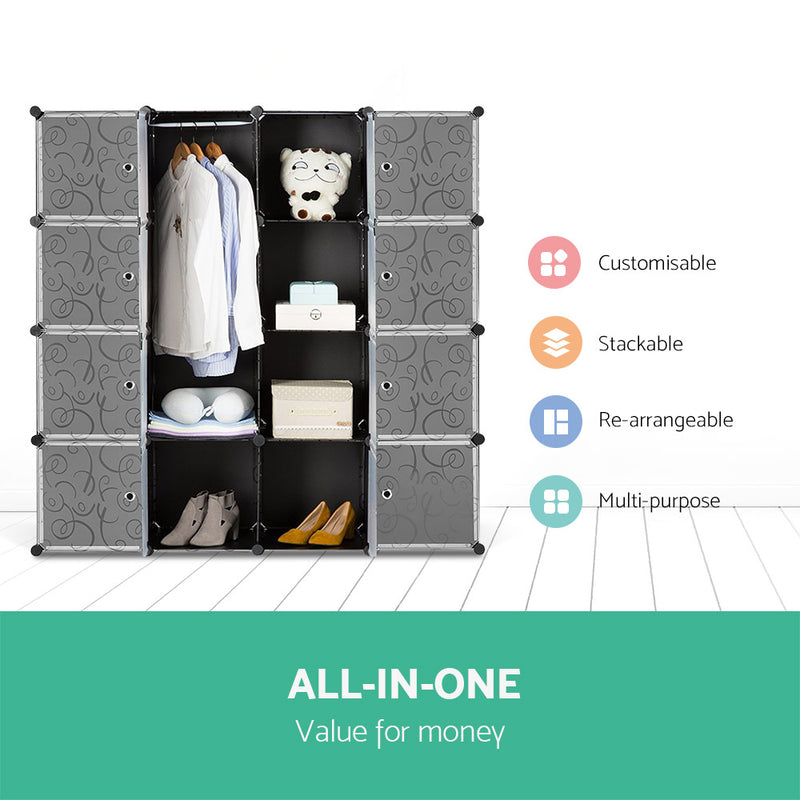 16 Cube Portable Storage Cabinet Wardrobe - Black & White