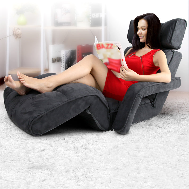 Artiss Adjustable Lounger with Arms - Charcoal