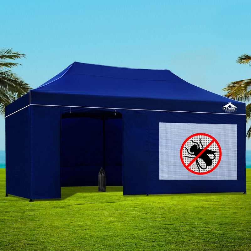 Instahut Gazebo Pop Up Marquee 3x6m Folding Wedding Tent Gazebos Shade Blue