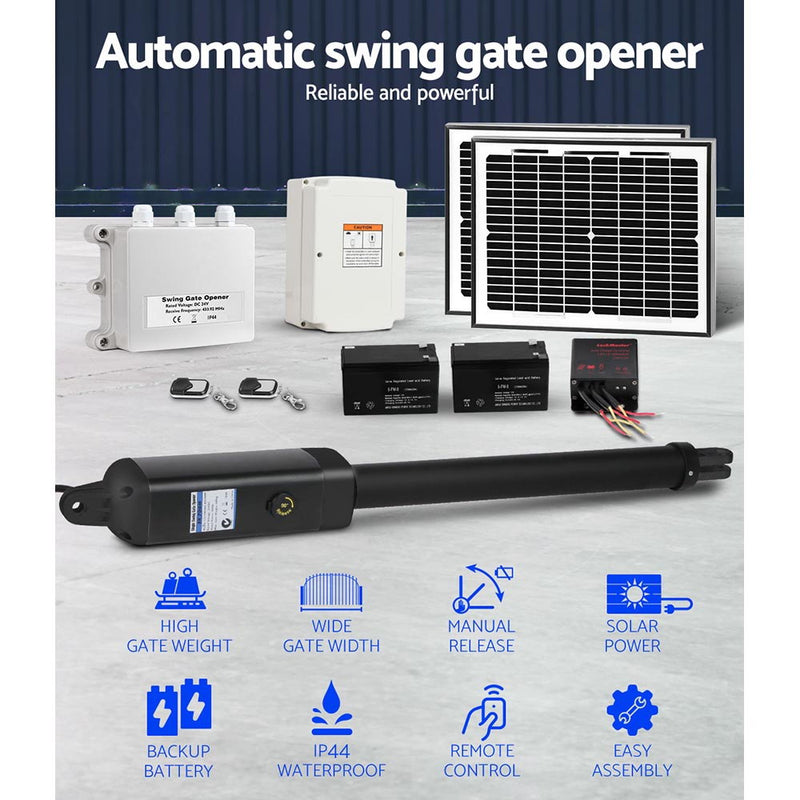 LockMaster 600KG Swing Gate Opener Automatic Electric Solar Power Remote Control