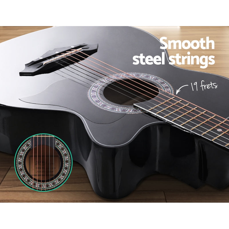 ALPHA 38 Inch Wooden Acoustic Guitar Black