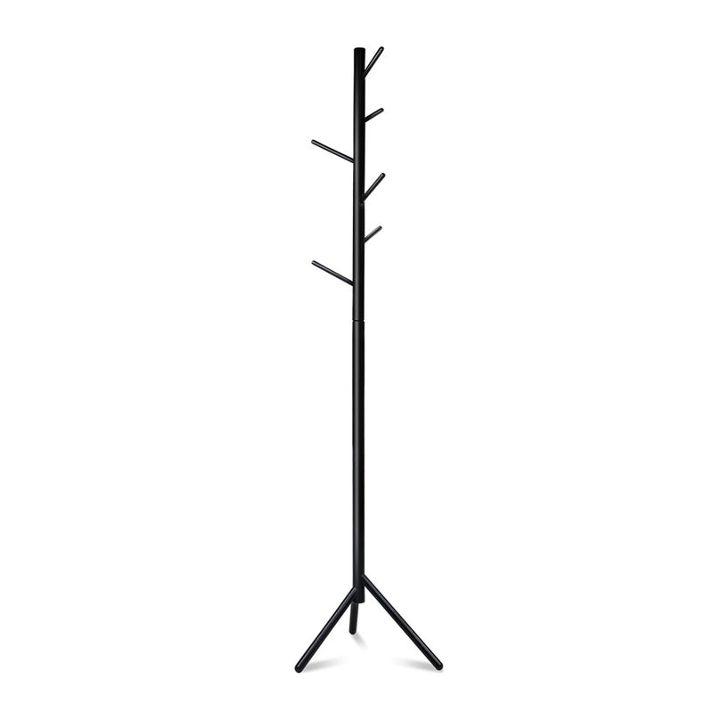 Artiss Wooden Clothes Stand with 6 Hooks - Black