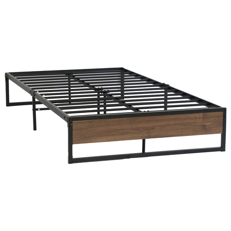 Metal Bed Frame King Single Size Mattress Base Platform Wooden Black OSLO