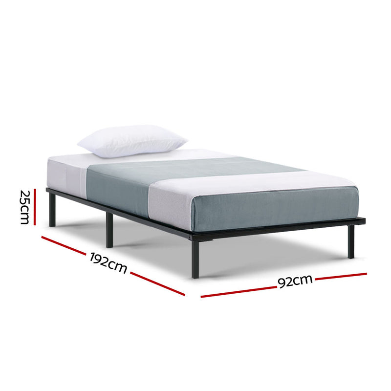 Metal Bed Frame Single Size Mattress Base Platform Foundation Wooden Black TED