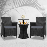 Wicker Chairs and Bar Table Drinks Cooler