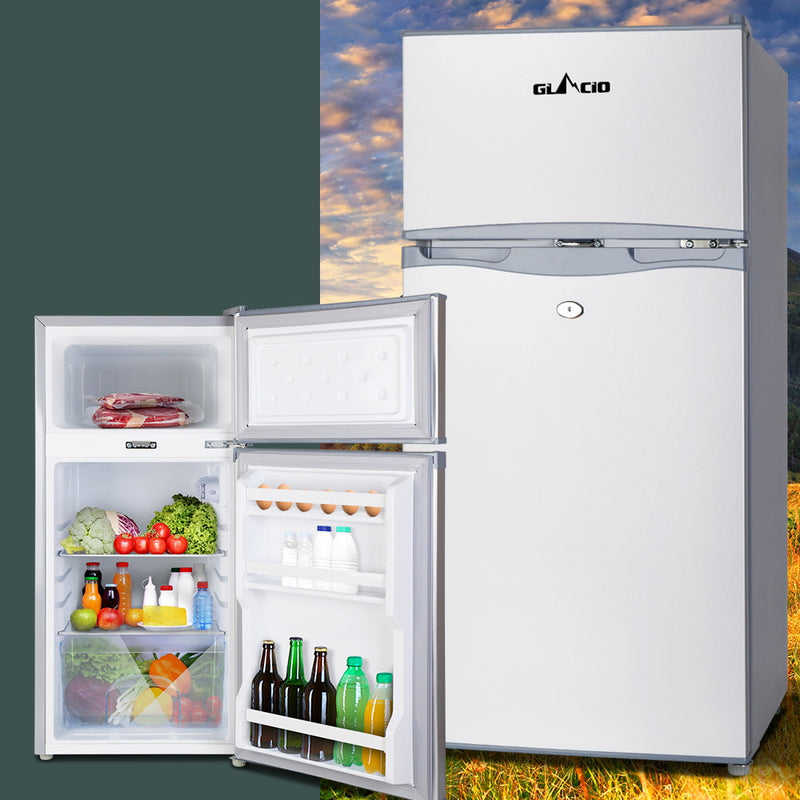 Glacio 100L Portable Fridge Bar Freezer Cooler Upright 12V/24V/240V Caravan Car Silver