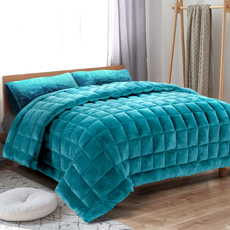 Giselle Bedding Faux Mink Quilt Comforter Duvet Doona Winter Throw Blanket Teal Queen