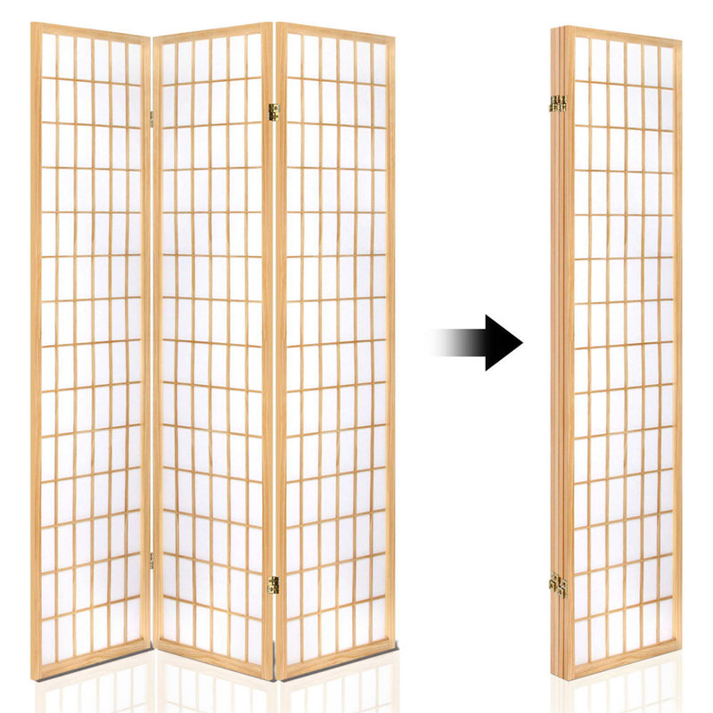 Artiss 4 Panel Wooden Room Divider - Natural