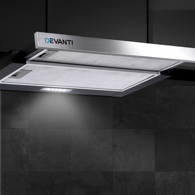 Devanti Rangehood Range Hood Stainless Steel Slide Out Kitchen Canopy 60cm 600mm Black