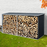 Giantz Log Storage Shed Galvanised Steel Outdoor Garden Firewood 3.5m³ Shelter