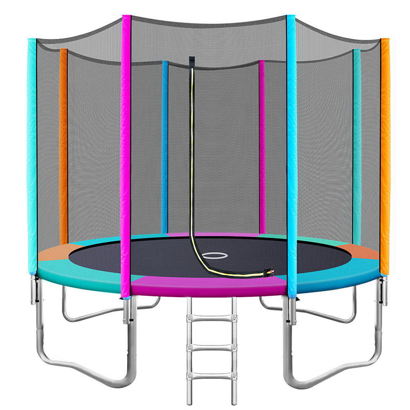 10FT Trampoline Round Trampolines Kids Safety Net Enclosure Pad Outdoor Gift Multi-coloured