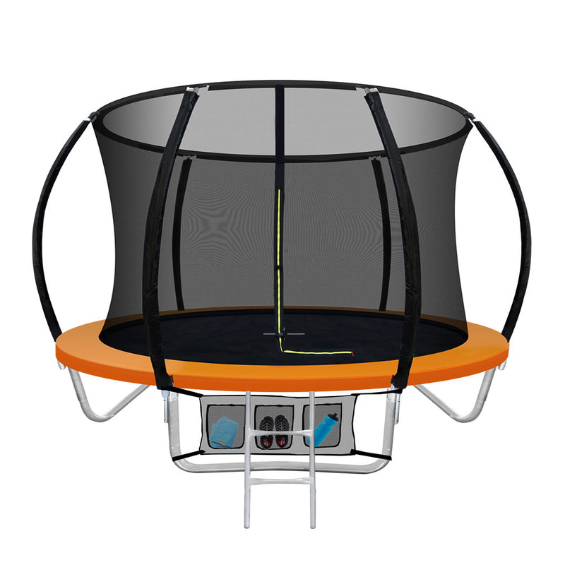 Everfit 8FT Trampoline Round Trampolines Kids Present Gift Enclosure Safety Net Pad Outdoor Orange