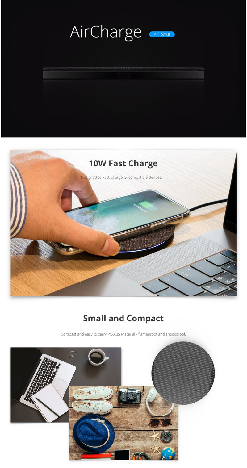 Photofast AirCharge Qi Compatible 10W Fast Charge (SKU:AC8000)