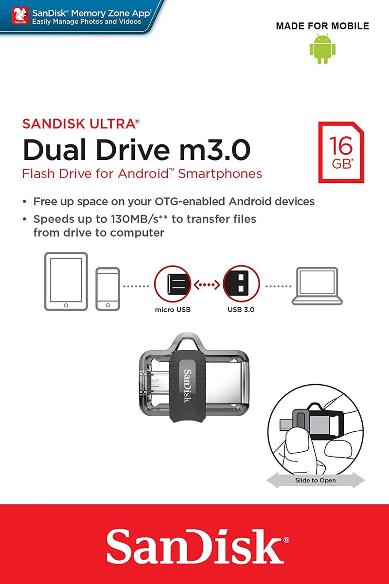 SANDISK OTG ULTRA DUAL USB DRIVE 3.0 FOR ANDRIOD PHONES 16GB 130MB/s SDDD3-016G