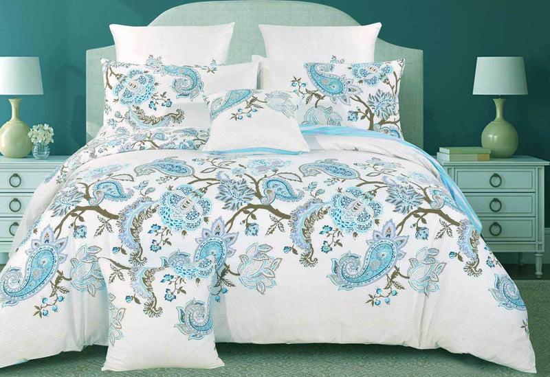 Queen Size Cotton White Blue Paisley Quilt Cover Set (3PCS)