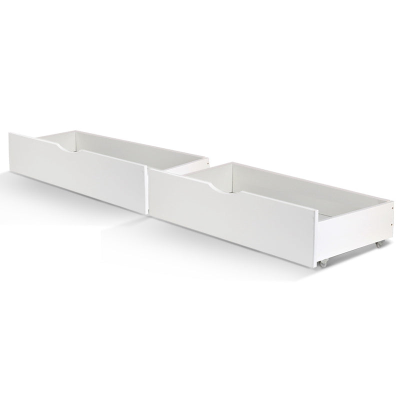 Artiss 2x Storage Drawers Trundle for Single Wooden Bed Frame Base Timber White