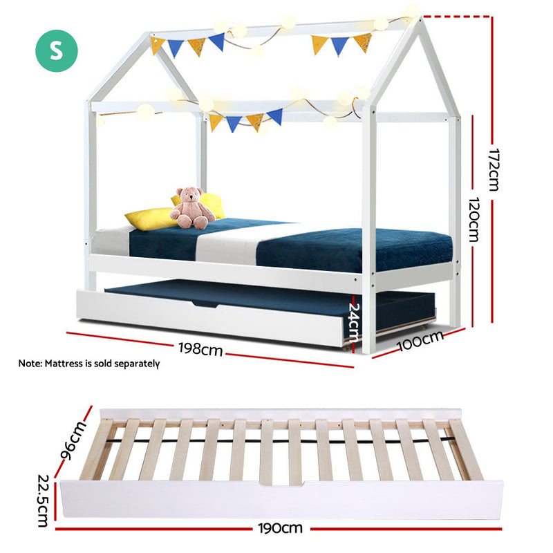 Artiss Wooden Bed Frame Single Size Mattress Base Pine Timber Platform White HOLY