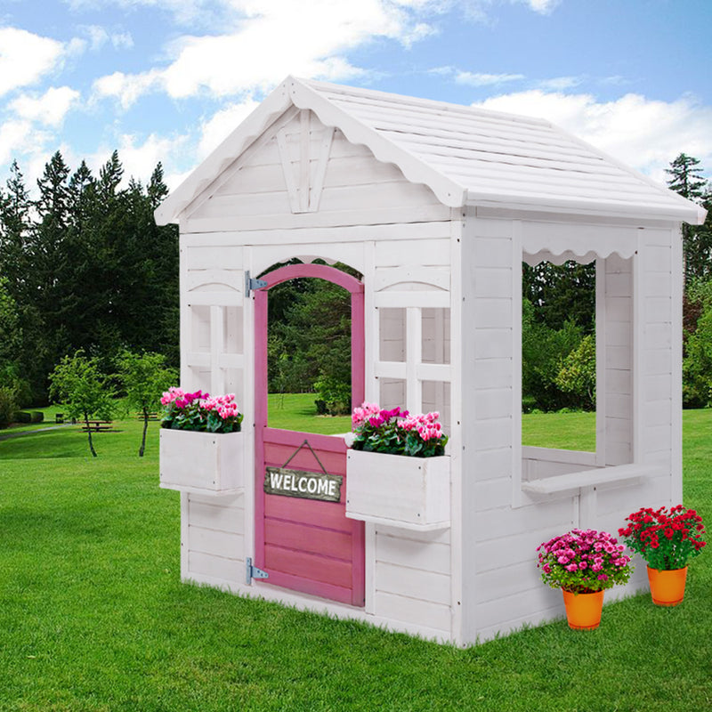 Kids Wooden Cubby House with Floor Outdoor Childrens Pretend Play