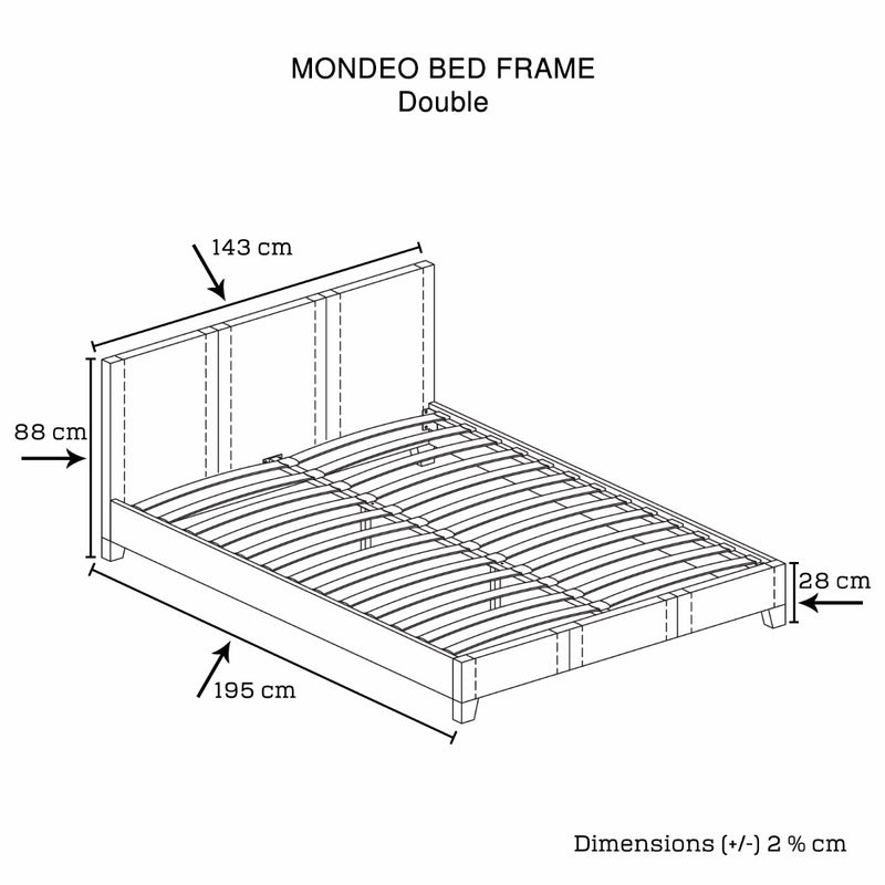 Mondeo PU Leather Double Black Bed