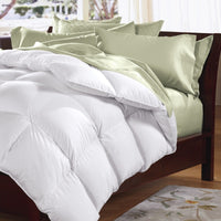 Goose Feather & Down Quilt 500GSM + Goose Feather and Down Pillows 2 Pack Combo - Double - White