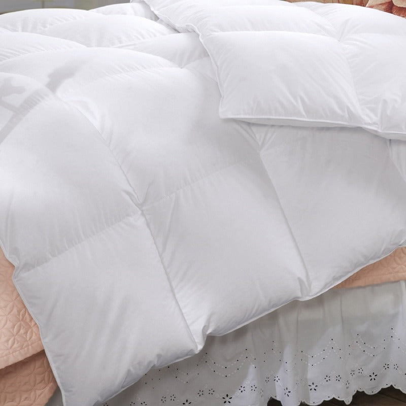 50% Duck Feather & 50% Duck Down Quilt 500GSM + Duck Pillows Twin Pack Combo - Queen - White