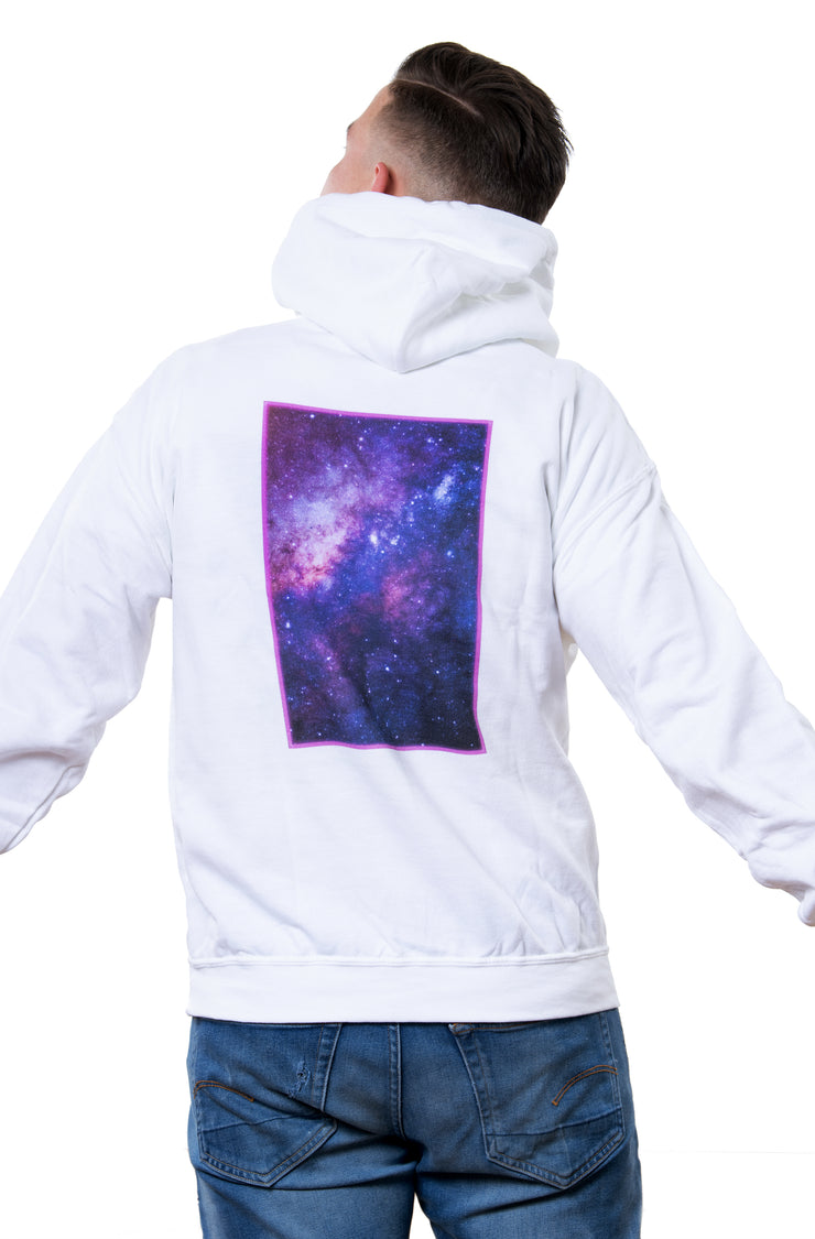 white nineplanets hoodie with backprint showing a colorful galaxy