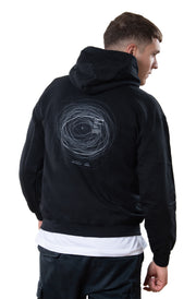 black hoodie with orbit backprint