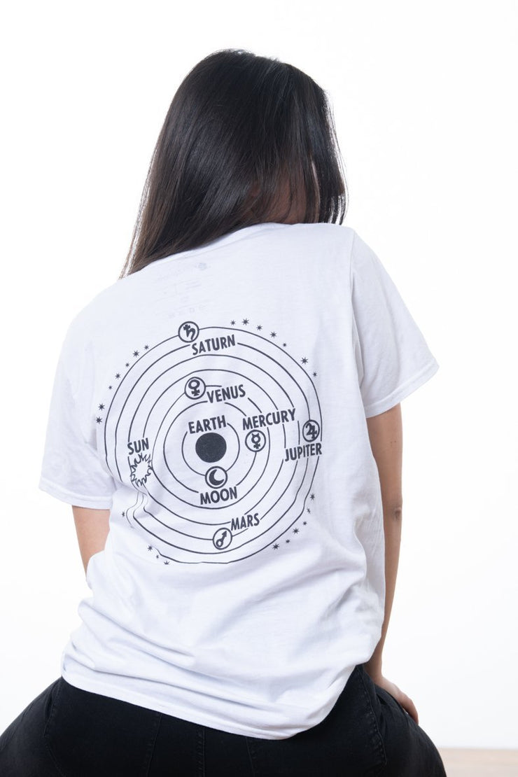 white t-shirt by nineplanets with sun an planets revolving around the earth