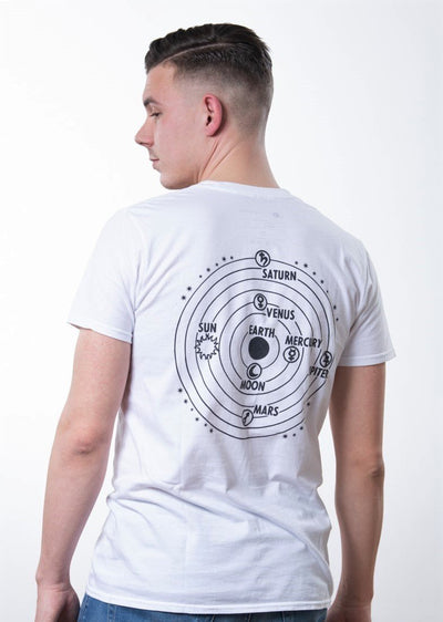 white t-shirt with backprint showing the sun, the earth and other planets