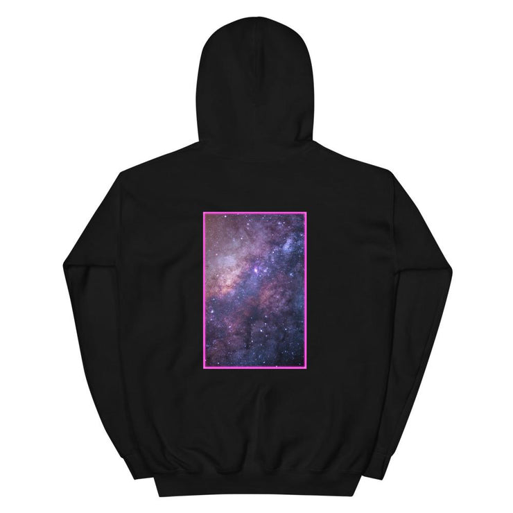 black dimensin hoodie showing a colorful galaxy on backprint
