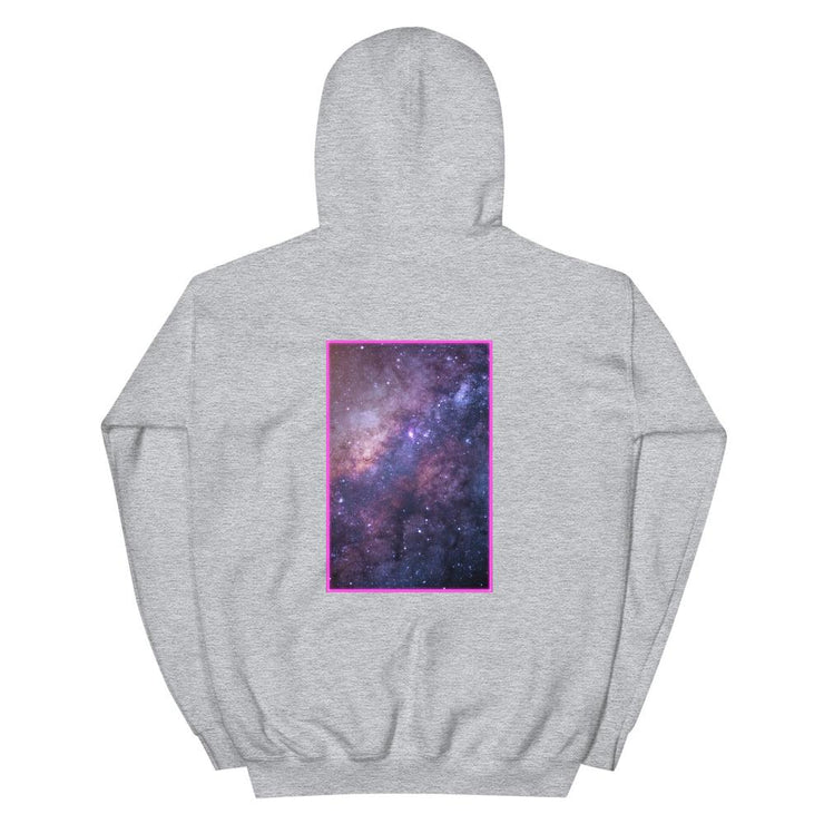 grey hoodie with backprint showing a colorful galaxy in a framed backprint