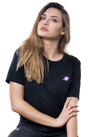 black t-shirt with pink saturn logo on left chest