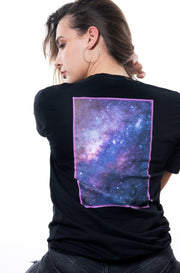 black nineplanets t-shirt with backprint showing a framed galaxy in neon colors