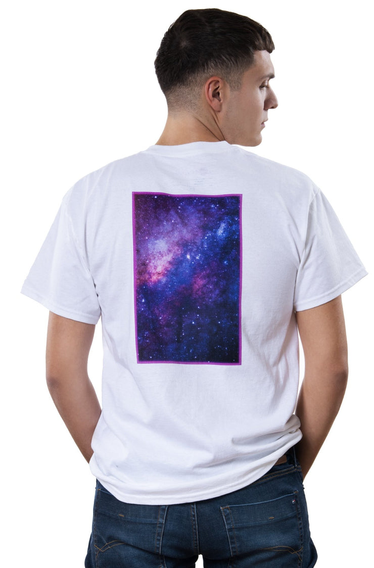 white t-shirt with neon-coloured backprint showing a galaxy