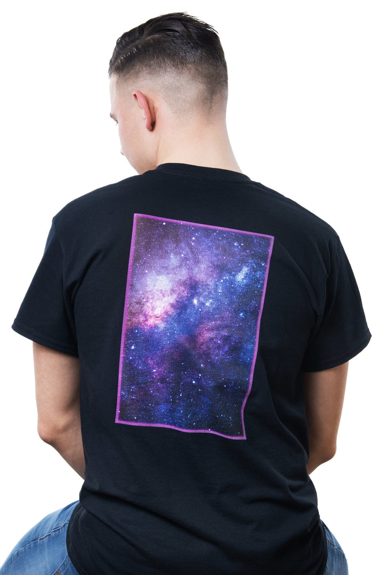 black t-shirt with colorful galaxy-backprint