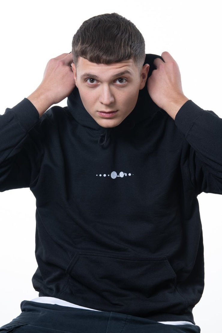 black nineplanets hoodie with frontprint showing the solar system