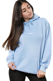 light blue hoodie by nineplanets with minimalist solar system on the chest