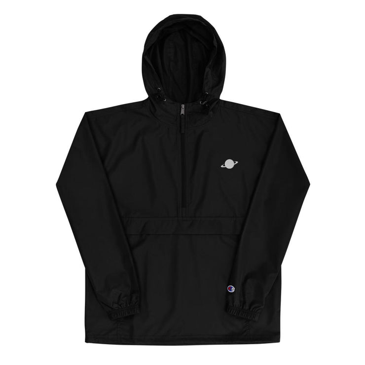 black windbreaker by champion and nineplanets with embroidered saturn logo