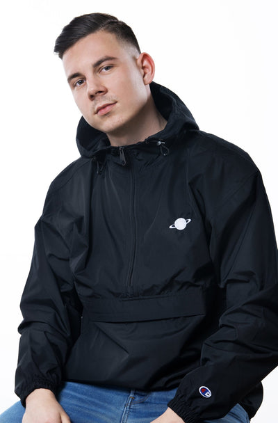 black champion jacket with white saturn logo on chest